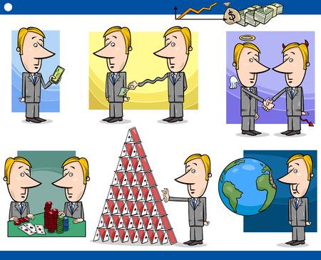 stock trader: Concepto de dibujos animados Conjunto de ilustraci�n de los hombres divertidos o caracteres Empresarios y Negocios Met�foras Vectores