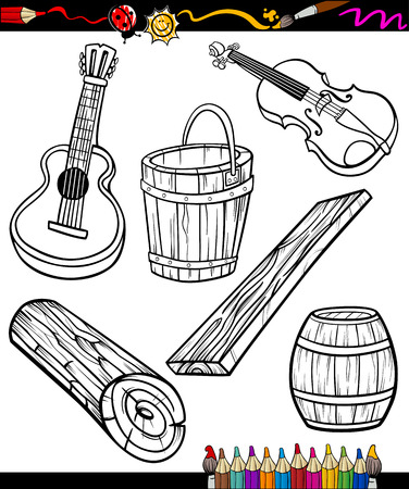 Coloring Book or Page Cartoon Illustration Set of Black and White Wooden Objects for Children