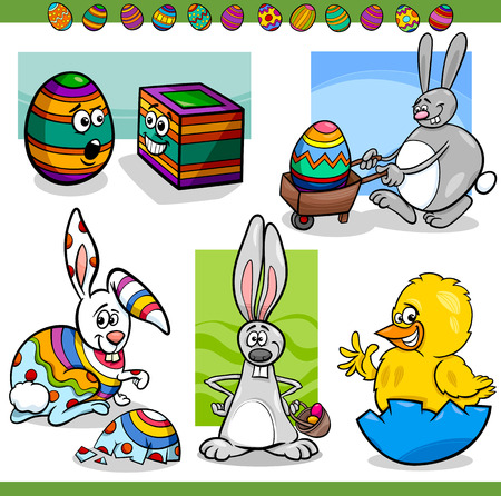 Cartoon Illustration of Happy Men Easter Themes with Bunny, Chicken or Chick and Colored Eggs Vector