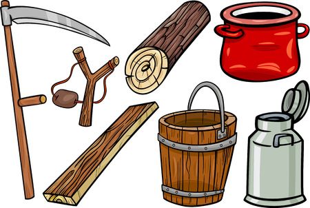 milk pail: Cartoon Illustration of Country Retro and Obsolete Objects Clip Art Set