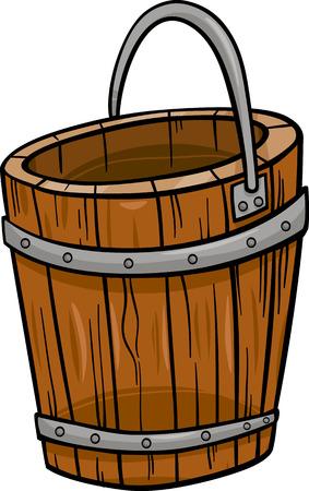 Cartoon Illustration of Wooden Bucket Retro Clip Art Object Illustration