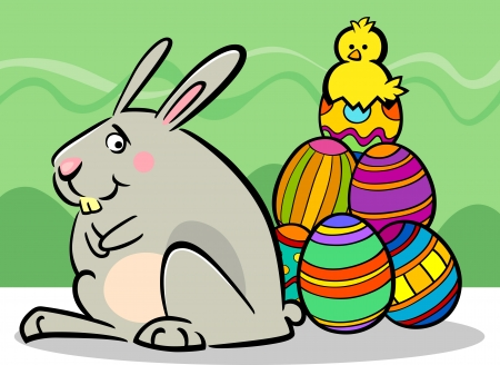 paschal: Cartoon Illustration of Funny Easter Bunny with Paschal Eggs and Little Chick