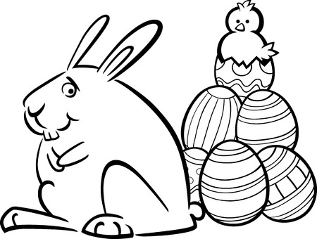 Black and White Cartoon Illustration of Funny Easter Bunny with Paschal Eggs and Little Chick for Coloring Book Vector