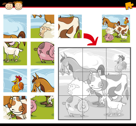 Cartoon Illustration of Education Jigsaw Puzzle Game for Preschool Children with Funny Farm Animals Group Vector