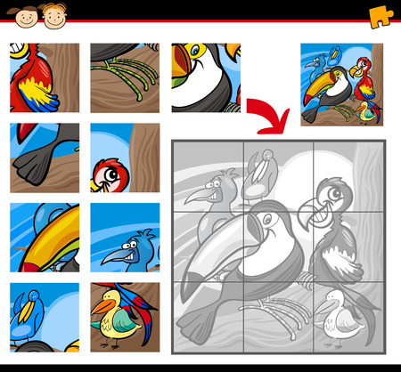 Cartoon Illustration of Education Jigsaw Puzzle Game for Preschool Children with Funny Exotic Birds Vector