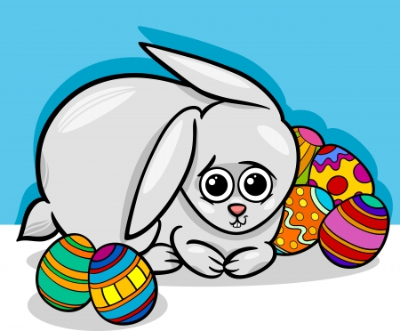 paschal: Cartoon Illustration of Cute Easter Bunny with Paschal Eggs
