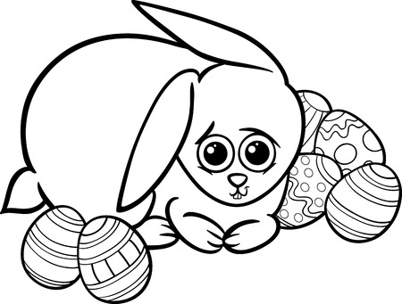 paschal: Black and White Cartoon Illustration of Cute Easter Bunny with Paschal Eggs for Coloring Book