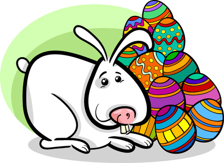 paschal: Cartoon Illustration of Easter Bunny with Paschal Eggs