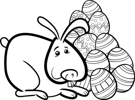 paschal: Black and White Cartoon Illustration of Easter Bunny with Paschal Eggs for Coloring Book