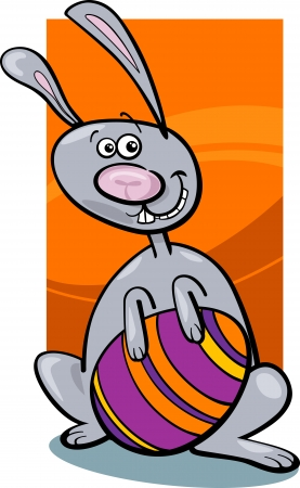paschal: Cartoon Illustration of Easter Bunny with Big Paschal Egg