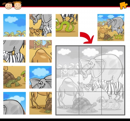 Cartoon Illustration of Education Jigsaw Puzzle Game for Preschool Children with Funny Safari Wild Animals Group Vector