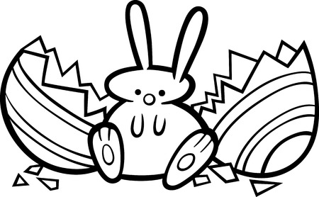 paschal: Black and White Cartoon Illustration of Cute Easter Bunny which Hatched from Paschal Egg for Coloring Book Illustration