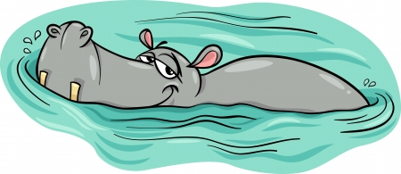 wade: Cartoon Illustration of Happy Hippo Animal Character or Hippopotamus in the River Illustration