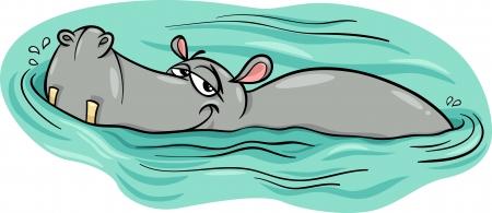 Ilustracja Cartoon Character Szczęśliwy Hippo Zwierząt lub Hipopotam w rzece Ilustracje wektorowe
