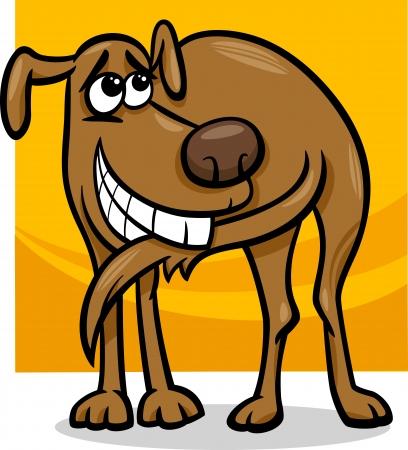the tail: Ilustraci�n de dibujos animados divertido del perro que persigue su cola