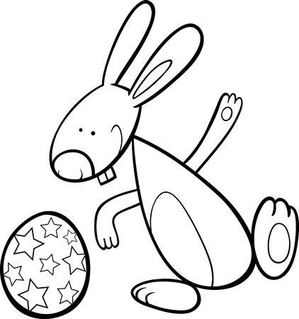 coloring easter egg: Black and White Cartoon Illustration of Easter Bunny with Big Paschal Egg for Coloring Book Illustration