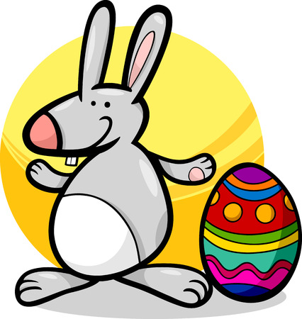 paschal: Cartoon Illustration of Cute Easter Bunny with Big Paschal Egg Illustration