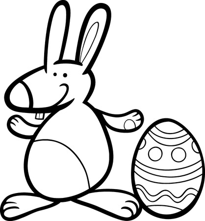paschal: Black and White Cartoon Illustration of Easter Bunny with Big Paschal Egg for Coloring Book Illustration