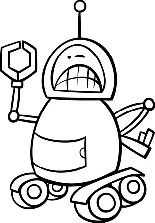 disgusted: Black and White Cartoon Illustration of Angry Robot or for Coloring Book