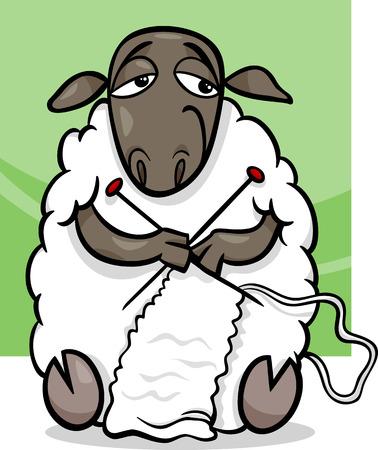 Ilustración de dibujos animados divertido de las ovejas Granja Knitting Animal