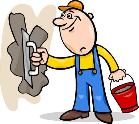 handymen: Cartoon Illustration of Worker or Mason with Trowel and Plaster or Cement doing Renovation