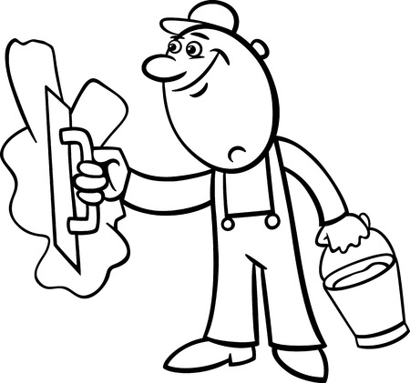 refit: Black and White Cartoon Illustration of Worker or Mason with Trowel and Plaster or Cement doing Renovation for Coloring Book