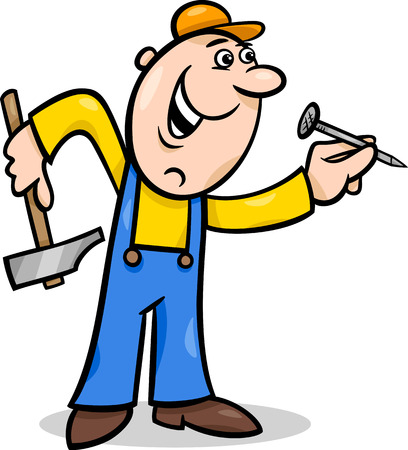 Cartoon Illustration of Worker with Hammer and Nail doing Renovation Vector