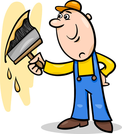 refit: Cartoon Illustration of Worker with Big Brush painting a Wall and doing Renovation Illustration