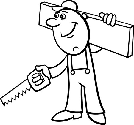 refit: Black and White Cartoon Illustration of Worker with Saw and Plank doing Renovation for Coloring Book