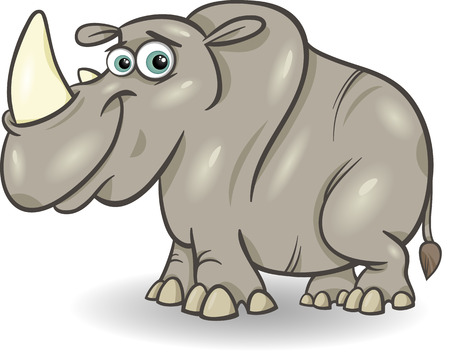african grey: Cartoon Illustration of Cute Rhinoceros or Rhino Animal Illustration