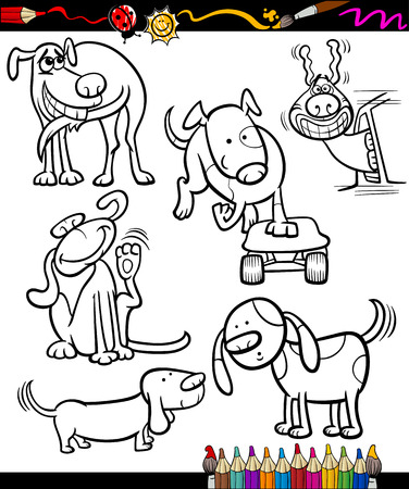 chasing tail: Coloring Book or Page Cartoon Illustration Set of Black and White Dogs Characters for Children Illustration