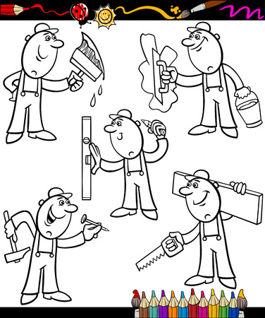 refit: Coloring Book or Page Cartoon Illustration of Black and White Funny Manual Workers at Work Set for Children Education