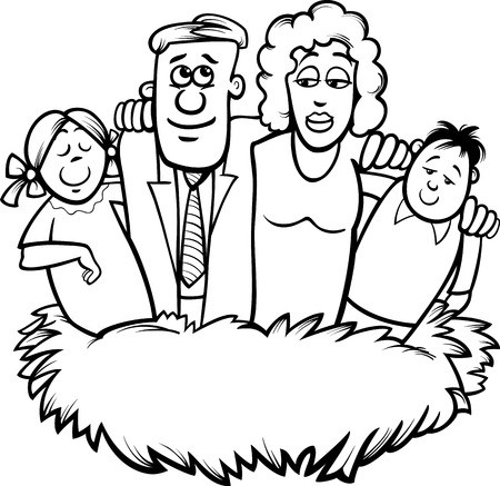 black family: Black and White Cartoon Humor Concept Illustration of Family Nest Saying for Coloring Book