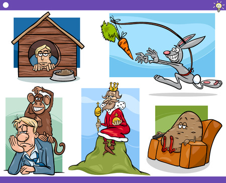 couch potato: Illustration Set of Humorous Cartoon Concepts or Ideas and Metaphors with Funny Characters