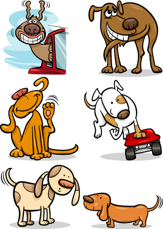 Cartoon Illustration of Funny Cute Dogs Set Vector