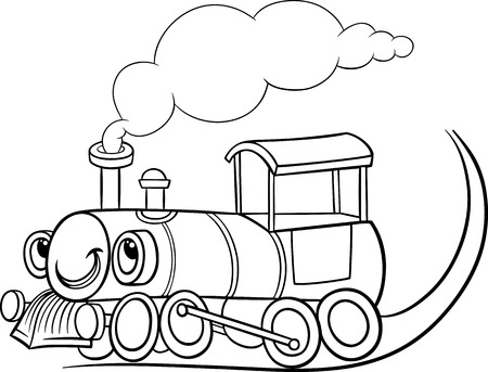 面白い蒸気エンジン機関車またはフグの腹鉄道輸送文字塗り絵用の黒と白の漫画イラスト  イラスト・ベクター素材