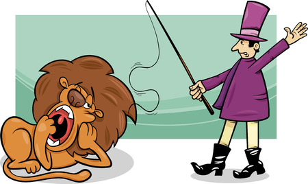 Cartoon Humor Illustration of Tamer and Bored Lazy Lion Vector