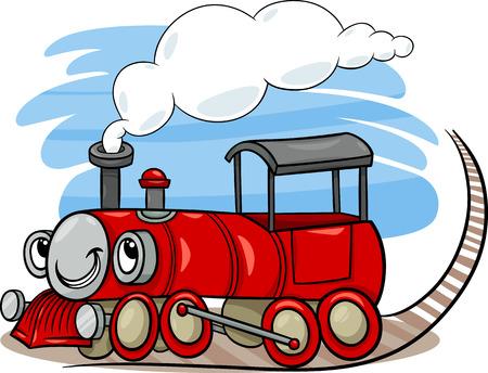 cartoon train: Cartoon Illustration of Funny Steam Engine Locomotive or Puffer Belly Train Transport Character