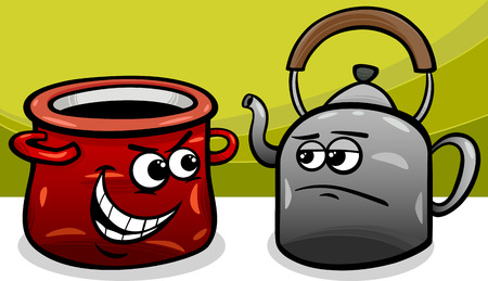 malicious: Cartoon Humor Concept Illustration of Pot Calling the Kettle Black Saying or Proverb