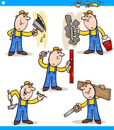 carita feliz caricatura: Ejemplo de la historieta de los trabajadores manuales divertidos haciendo reparaciones en caracteres Trabajo Conjunto Vectores