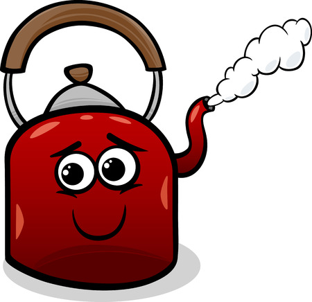steam: Funny Cartoon Kettle with Hot Steam Illustration