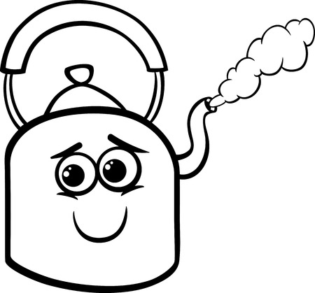 kettle: Funny Black and White Cartoon Kettle with Hot Steam