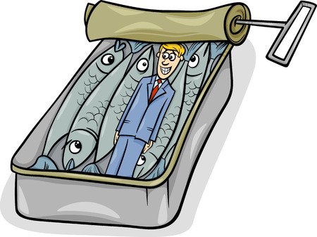 sardines: Cartoon Humor Concept of Packed Like Sardines Saying or Proverb Illustration