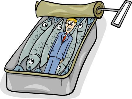 sardinas: Cartoon Humor Concepto de lleno como sardinas decir o Proverbio Vectores