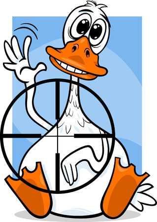 Cartoon Humor Concept of Sitting Duck Saying or Proverb