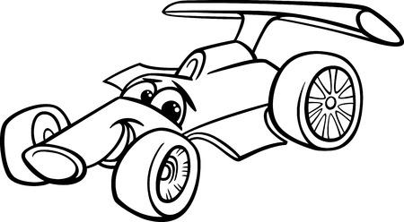 car racing: black and white Cartoon Funny Racing Car Illustration