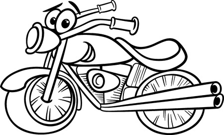 Funny black and white Motor Bike Vehicle Vector