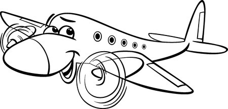 Funny Black and White Cartoon Plane Vector