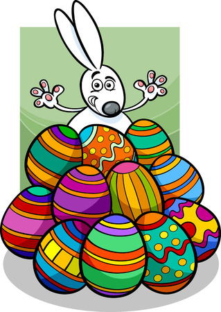 paschal: Cute Easter Bunny in Paschal Eggs Heap
