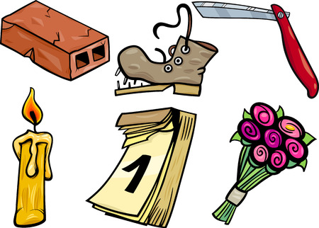 clip art: Cartoon Household Clip Art Set Vettoriali